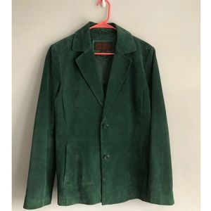 Oversized Emerald Green Leather 2 Button Blazer
